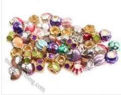 Mixed Color Zincy Alloy Large hole beads with Enamel 006