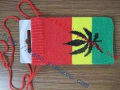Cannabis leaf pattern red-yellow-green knit cell phone bags | customized popular reggae jacquard digital products protective sleeve | iphone protective sleeve knit single