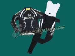 2010 Scott Team Black Cyling Long Sleeve Jersey and Bib Pants Set