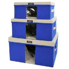 Open Xin Bao sweater storage box / lid visible clothing finishing three-piece box - Blue