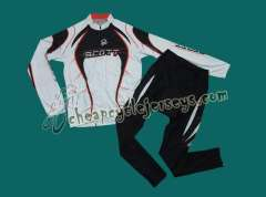 2010 Scott Team White Cycling Long Sleeve Jersey and Pants Set