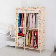 Solid wood widened two wardrobe | assembled wardrobe | C Type | Color Random