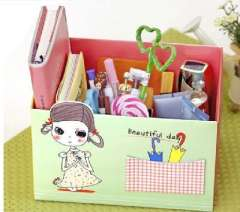 Korean stationery | small pocket Desktop Storage Box | DIY cute girl storage box | Queen size single cell | Green