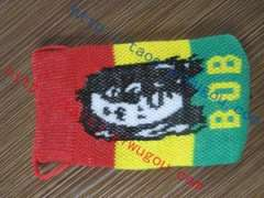 Fashion Jamaican style singer BOB avatar red-yellow-green double-knit cell phone bag | popular reggae motif digital products protective sleeve