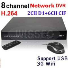 8CH Channel H.264 Standalone Network CCTV DVR Support 3G WIFI