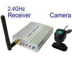 2.4G Wireless camera and receiver, built in microphone for audio monitoring