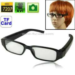 720p HD Camera Eyewear with Plain Glass, Support TF