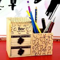 South Korean stationery happy Teddy Bear timber with double drawer pen / jewelry box ( 706 007 )