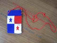 Personalized Panama flag pattern cotton knit cell phone package | Fashion flag pattern unisex style cotton jacquard digital products protective sleeve