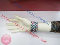 Popular classic black and white plaid pouring paint effect printing leather bracelet