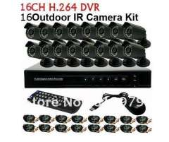 16CH H.264 Standalone Network DVR 16PCS Waterproof IR Camera CCTV Video System Kit