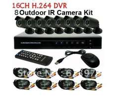 16CH H.264 Standalone Network DVR 8PCS Waterproof IR Camera CCTV Video System Kit