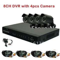 8CH H.264 Standalone Network DVR 4pcs CMOS 6mm lens Outdoor IR Camera VIdeo CCTV System Kit