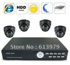 Complete Surveillance System with 4-Channel Embedded Linux DVR + 4 Cameras