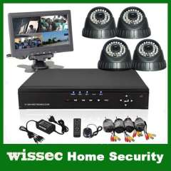 Home 7 inch monitor 4CH CCTV Security Cameras DVR System 4PCS 600TVL Sony CCD indoor dome ir cameras 4ch Kit for DIY Systems