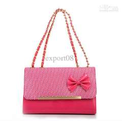 Wholesale - Free-shipping Lady's Cow leather Bow handbags with plating candy colors Sweet Girls' Evening bags