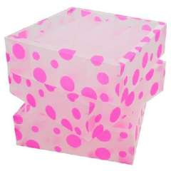 Multifunction environmental PP without lid storage box / finishing three-piece box - pink circles