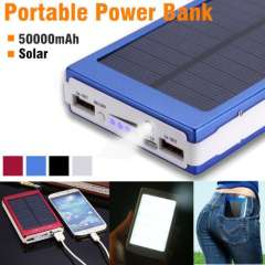 50000mAh USB Portable Solar Power Bank Battery Charger With 20x LED Light