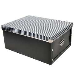Large multi-function metal edge environmental PP covered storage box / sorting box - black stripes