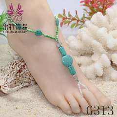 turquoise anklet jewelry, foot jewelry 2013, barefoot sandles, beach jewelry