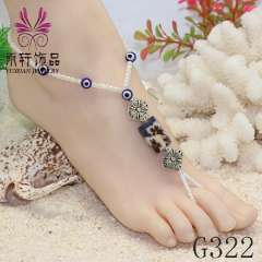 beach foot jewelry, bead anklet 2013, shell jewelry, alloy anklet