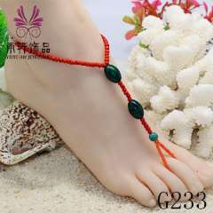 glass beads anklet, fashion anklet jewelry, baech barefoot jewelry