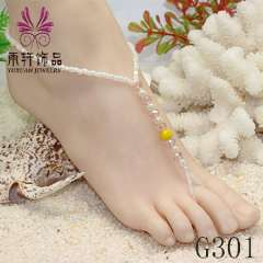 bridal sandals barefoot beach wedding foot jewelry, galss pearl crystal anklet jewelry