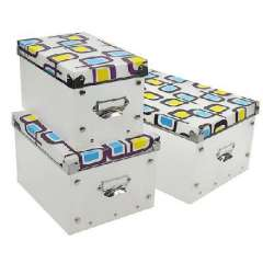 Multifunctional metal edge environmental PP covered storage box / sorting box three-piece suit - yellow Blue Butterfly