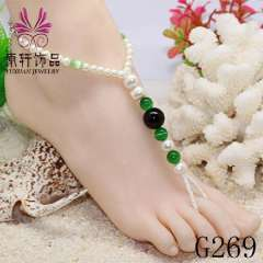 fashion pearl jewelry anklets, barefoot pearl anklet, nude sandals beach jewelry