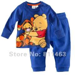kid bule cartoon pajamas #XC-023 \ children long sleeve clothes \ free shipping