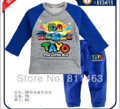 boy long sleeve blue cartoon the little bus cotton pajamas #XC-163\ wholesale & retail \ free shipping