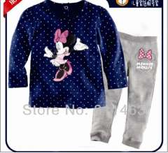 2013 newest girl minnie mouse long sleeve cotton pajamas #XC-116 \ wholesale & retail \ free shiping