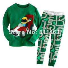 baby green cartoon pajamas #XC-006 \ kids long sleeve clothering \ children wear \ free shipping
