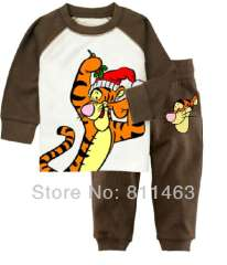 children boys long sleeve cartoon cute tiger cotton pajamas #XC-147 \ wholesale & retail \ free shipping