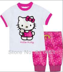 2013 hot selling short sleeve white hello kitty T-shirt & pink polka dot pant 100% cotton pajamas #CP-026 \ wholesale & retail