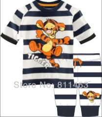 Boys short sleeve tigger black-white striped pajamas #CP-016 \ size 2Y to 7Y \wholesale & retail