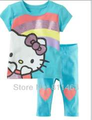 girl hot selling short sleeve sky blue hello kitty pajamas # XC-157 \ wholesale & retail \ free shipping