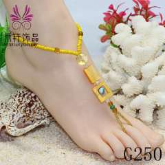 handmade shell jewelry, crystal anklet, glass beads barefoot jewelry