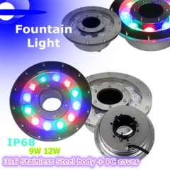RGB led fountain light \ ip68 waterproof\ stainless steel body