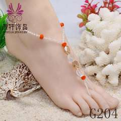 Newest fashion design glass beads anklet, sexy crystal jewelry, beach barefoot jewelry