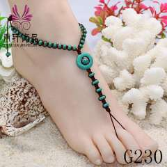 fashion turquoise beads anklets, foot jewelry sandals, beach barefoot jewelry