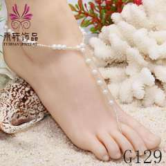 pearl beads anklet barefoot, Wedding anklets jewelry, wholesale anklet jewelry