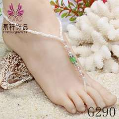 crystal barefoot sandals foot jewelry anklet, party barefoot, pearl beach anklet