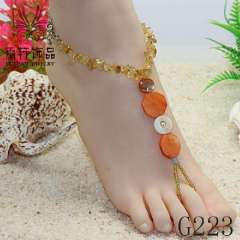 crystal barefoot sandals, fashion anklet jewelry, beach shell jewelry