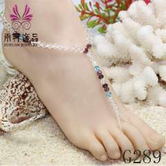 bridal sandals barefoot, beach wedding foot jewelry, 2013 popular crystal anklet, Cordless beach slippers