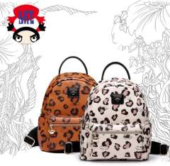 Pucca new Korean female leopard leather backpack
