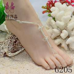 white pearl foot jewelry, anklet jewelry fashion, sexy barefoot jewelry
