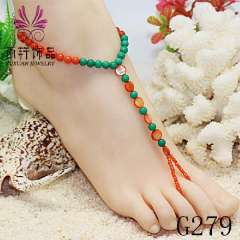 shell anklet jewelry, stone bead jewelry, beach anklet jewelry, barefoot sandals