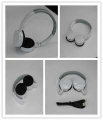 White Classic Folded Stereo Bluetooth Foldable Headphone