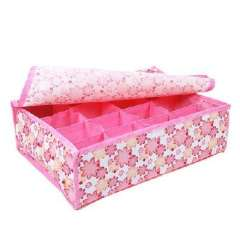 Storage card show - soft pink flowers cover 16 grid storage box